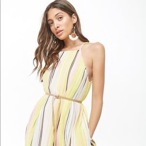 FOREVER 21 Pleated Multicolor Striped Maxi Dress